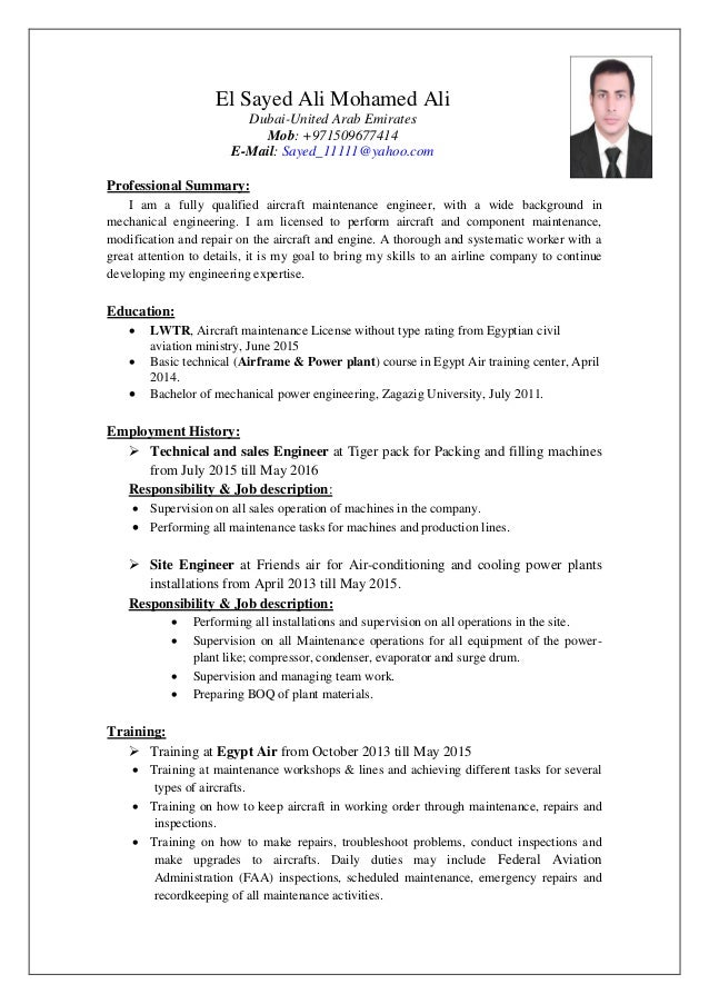 aircraft engineer cv