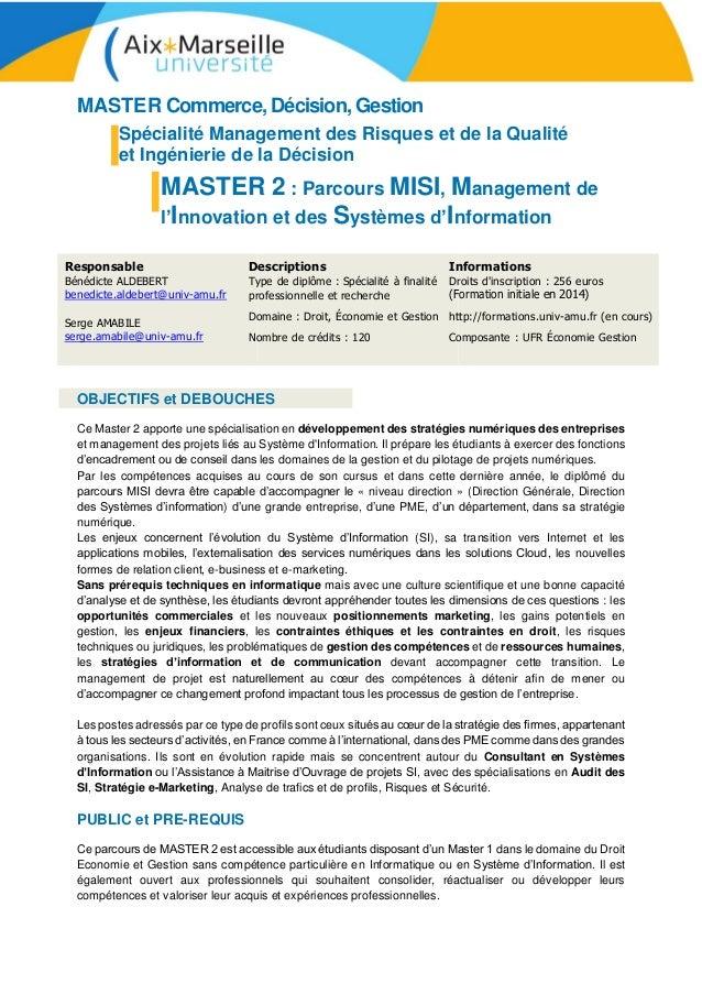 MASTER Commerce, Décision, Gestion Spécialité Management des Risques et de la Qualité et Ingénierie de la Décision MASTER ...