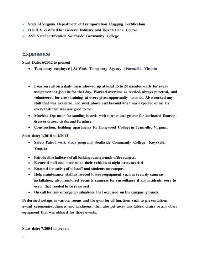 Temp Work On Resume Zrom