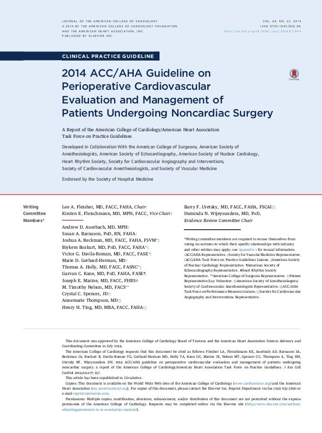 ACC guide line Cardiovascular risk assessment for non cardiac surgery2
