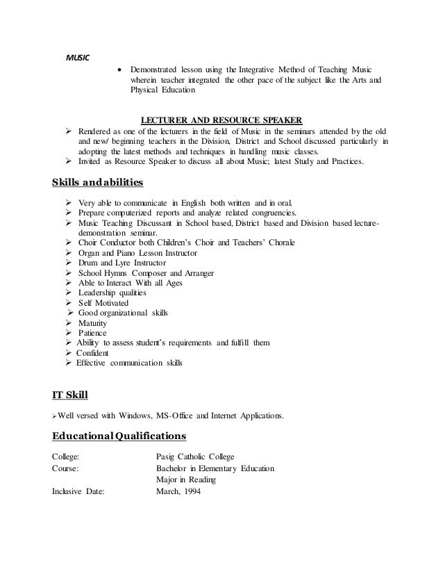 resume as a teacher
