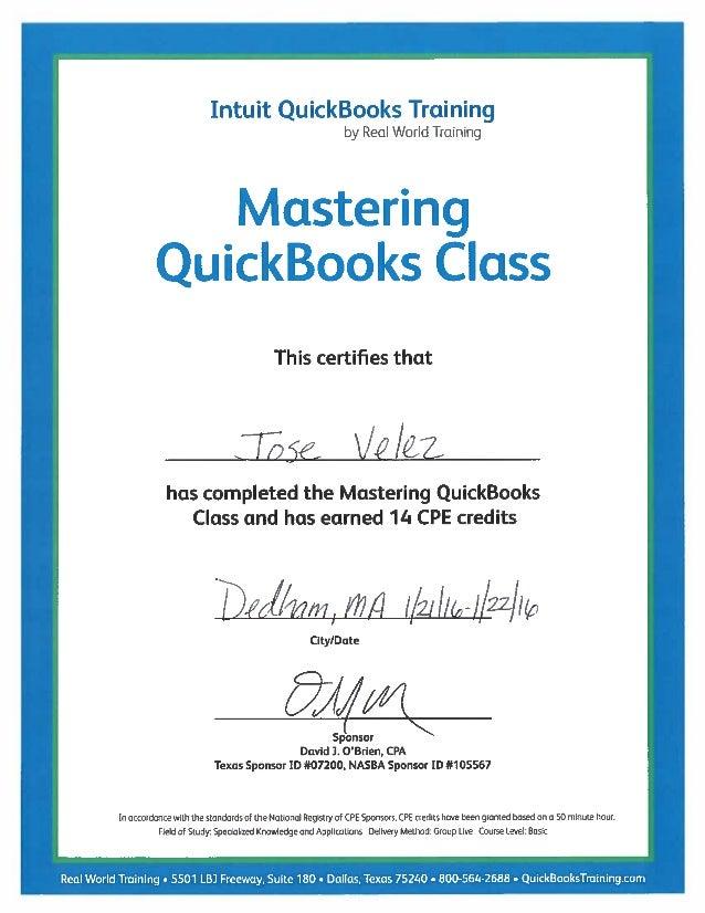 QuickBooks Training Certif
