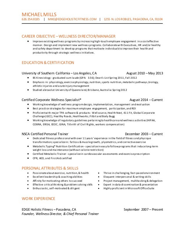 wellness director resume