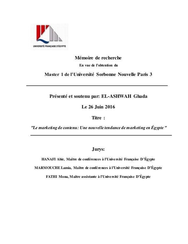 Mémoire de recherche En vue de l'obtention du Master 1 de l'Université Sorbonne Nouvelle Paris 3 Présenté et soutenu par: ...