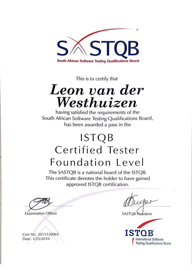 Istqb Certified Tester Foundation Level Certificate