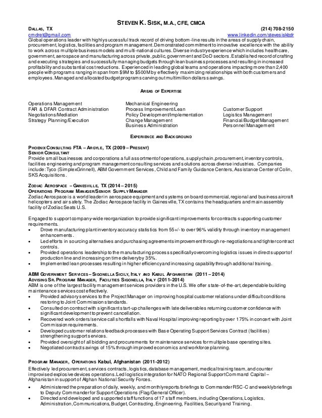 resume operations manager supply chain mgmt procurement contractin - Sample Resume Operations Manager