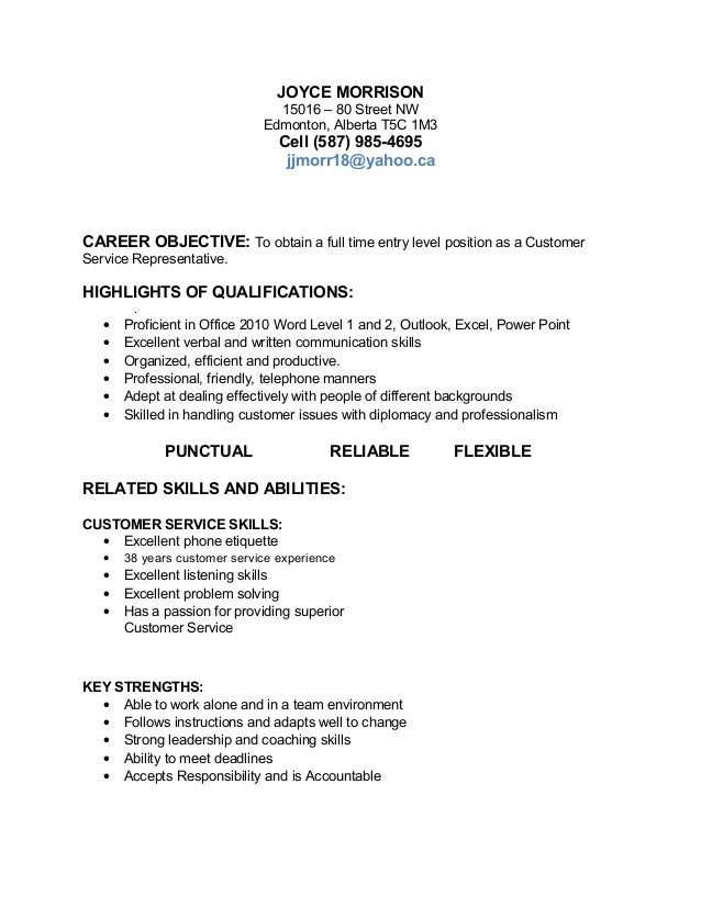job target resume - Customer Service Job Resume