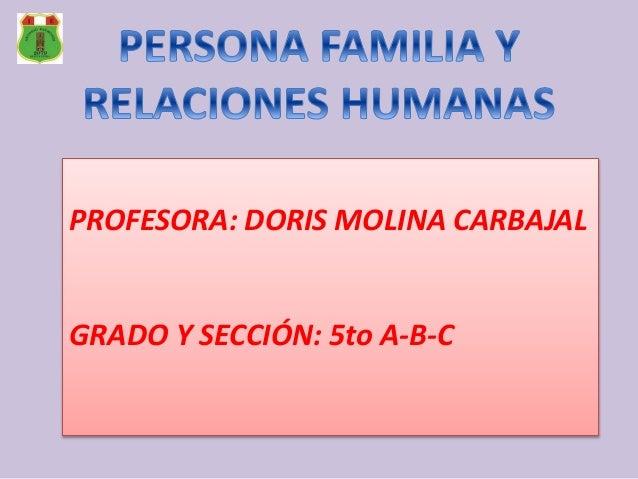 PROFESORA: DORIS MOLINA CARBAJAL GRADO Y SECCIÓN: 5to A-B-C