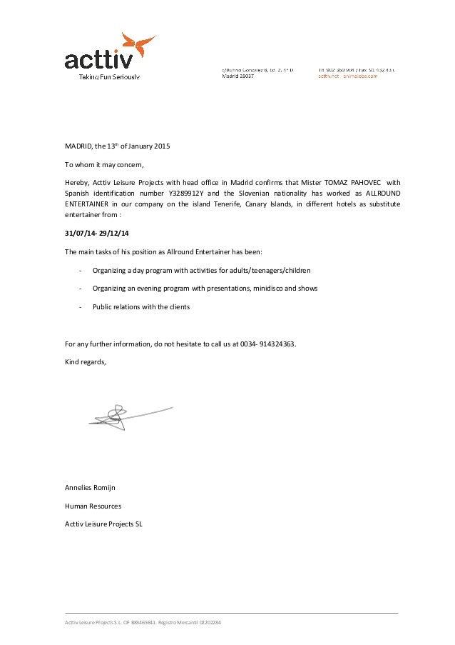carta recomendacion ingles pahovec