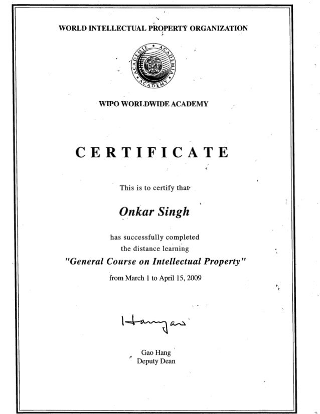 certificate ip wipo slideshare course upcoming