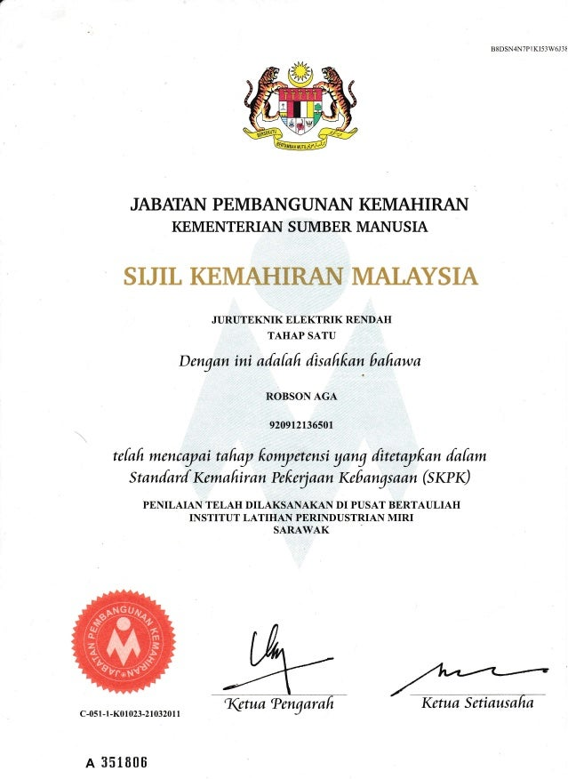 ELECTRICAL CERTIFICATE LEVEL 1,2,3
