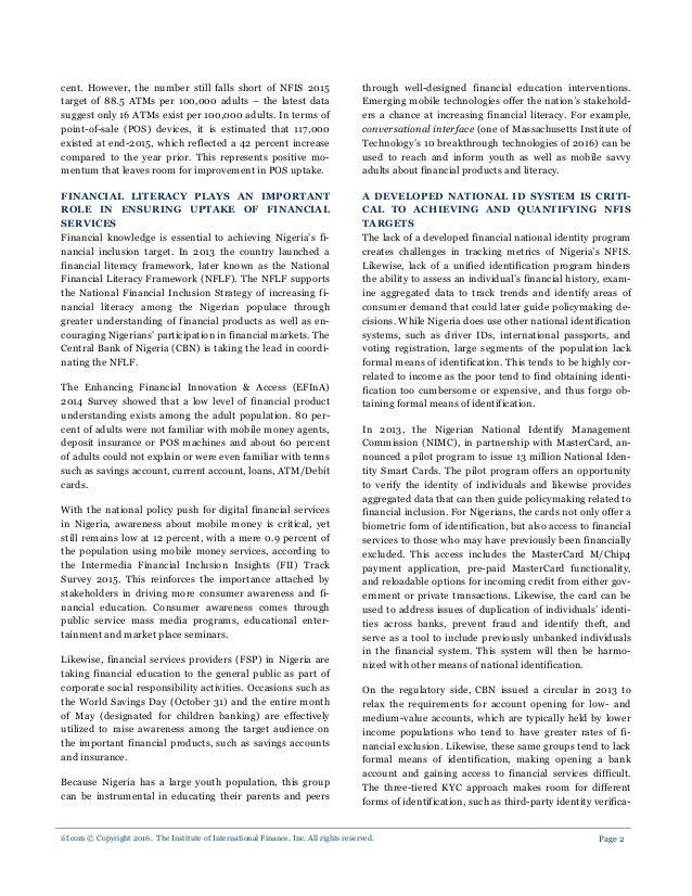 Nigeria Financial Inclusion report 2017