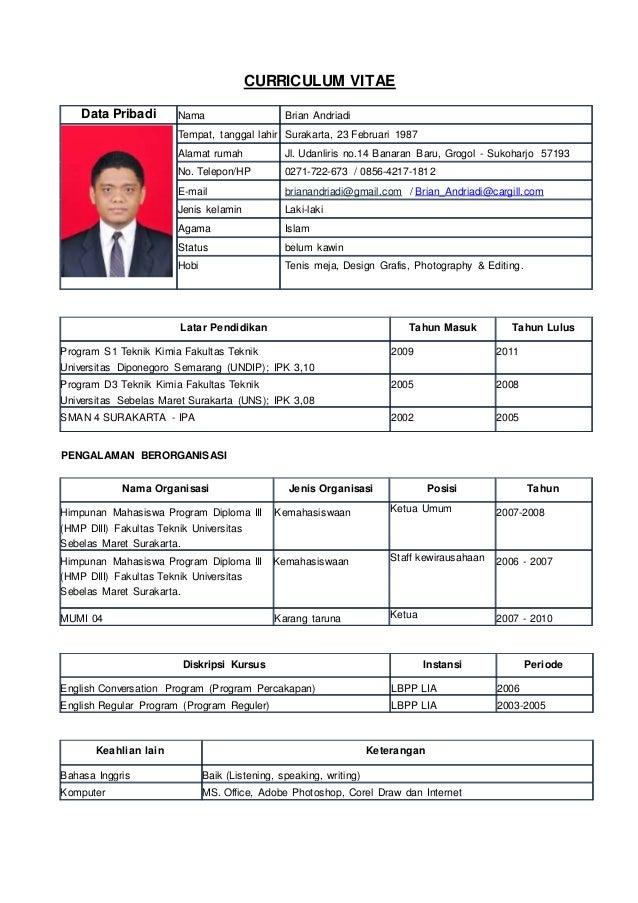 CURRICULUM VITAE Latar Pendidikan Tahun Masuk Tahun Lulus Program S1 Teknik Kimia Fakultas Teknik Universitas Diponegoro S...