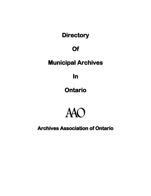 aao municipal archives resource guide directory  directory of municipal archives in ontario archives association of ontario