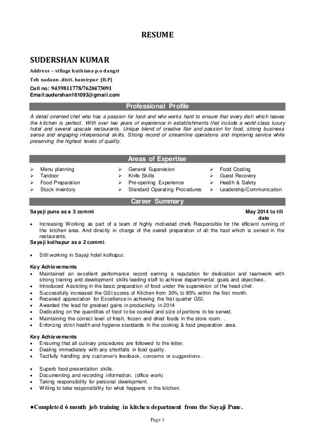 Page 1 RESUME SUDERSHAN KUMAR Address – village kuthiana p.o dangri Teh nadaun .distt. hamirpur (H.P) Cell no: 9459811778/...