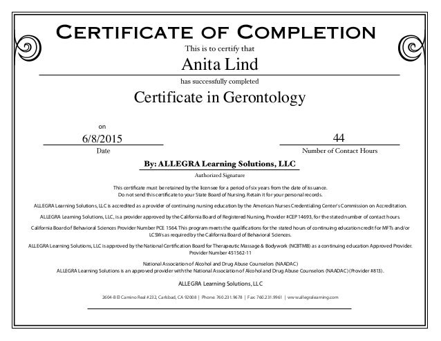 gerontology certificate