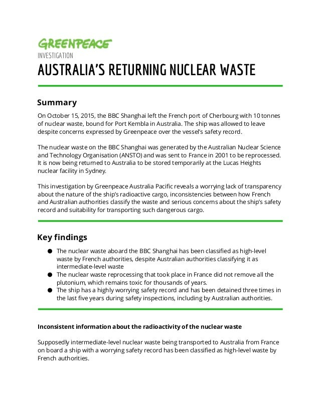 INVESTIGATION AUSTRALIA'S RETURNING NUCLEAR WASTE Summary On October 15, 2015, the BBC Shanghai left the French port of C...