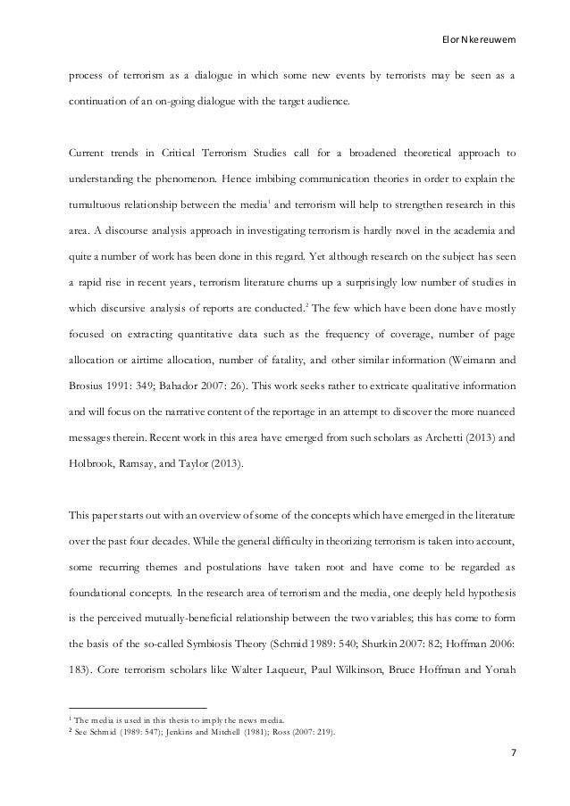 Help on dissertation terrorism