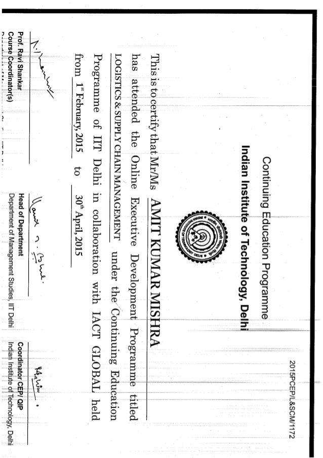 Certificate From Iit Delhi Scm 1