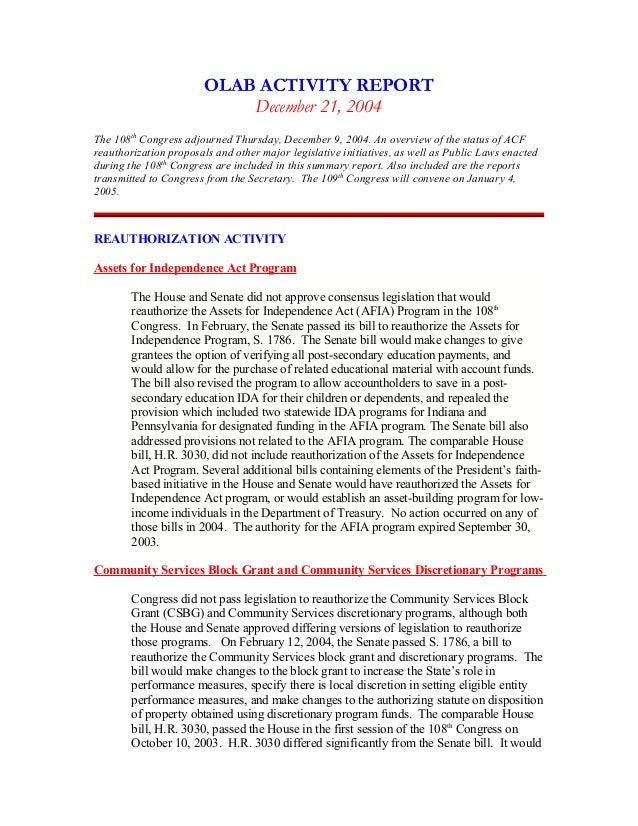 December 17 2004 olab wrap up report template olab activity report december 21 2004 the 108th congress adjourned thursday december 9 pronofoot35fo Choice Image