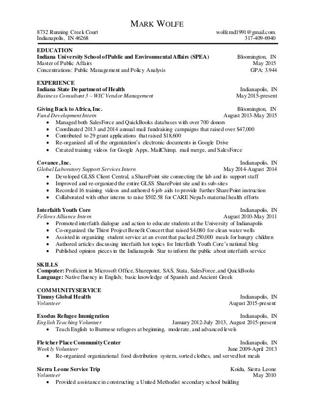 one page resume mark wolfe