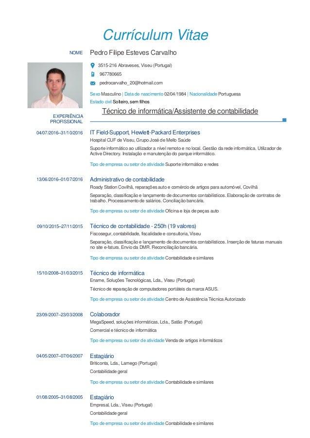 Currículum Vitae NOME Pedro Filipe Esteves Carvalho 3515-216 Abraveses, Viseu (Portugal) 967780665 pedrocarvalho_20@hotmai...