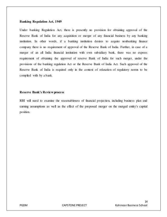 final project on merger acquisition in banking sector in india Cross-border m&a regulated by the reserve bank of india (rbi) through the foreign exchange management act 1999 (fema), associated rules and regulations and the foreign direct investment policy promulgated by department of industrial policy and promotion (dipp), government of india.