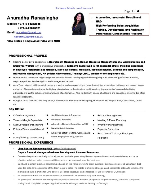 resume of anuradha ranasinghe hr recruitment manager2015