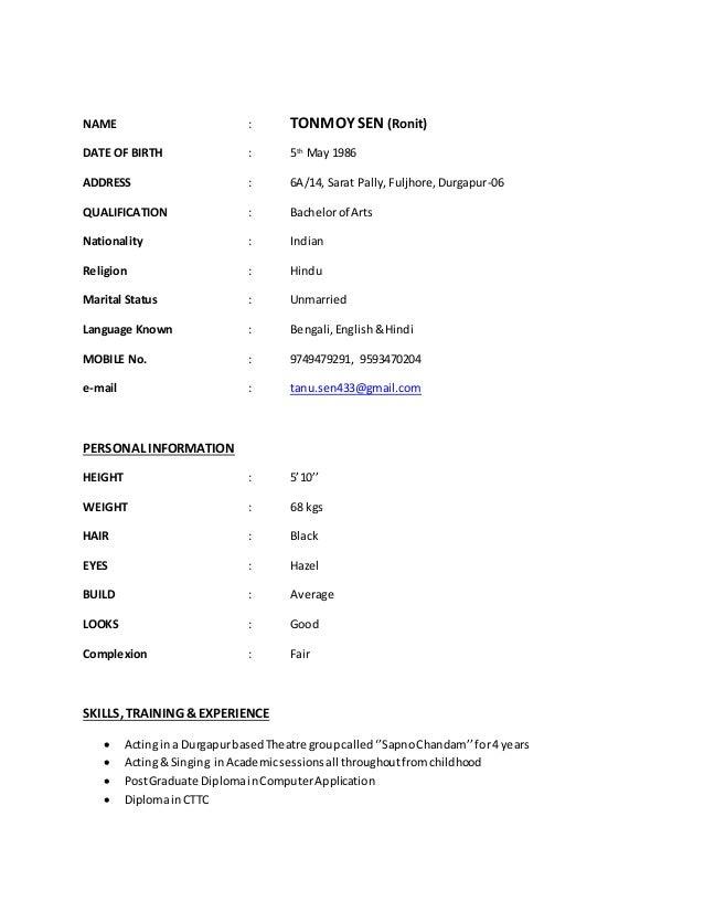 portfolio biodata