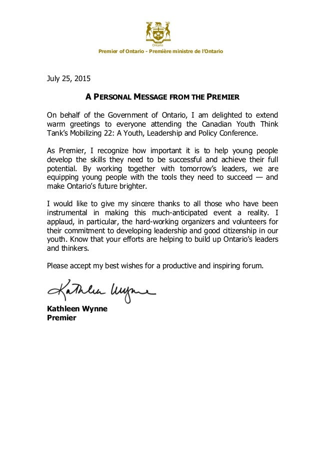 Greetings from kathleen wynne premier of ontario premire ministre de lontario july 25 2015 a personal m4hsunfo