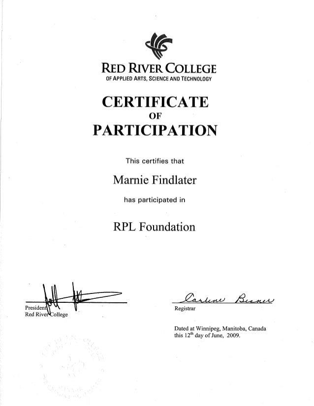 Red River College Rpl Certificate