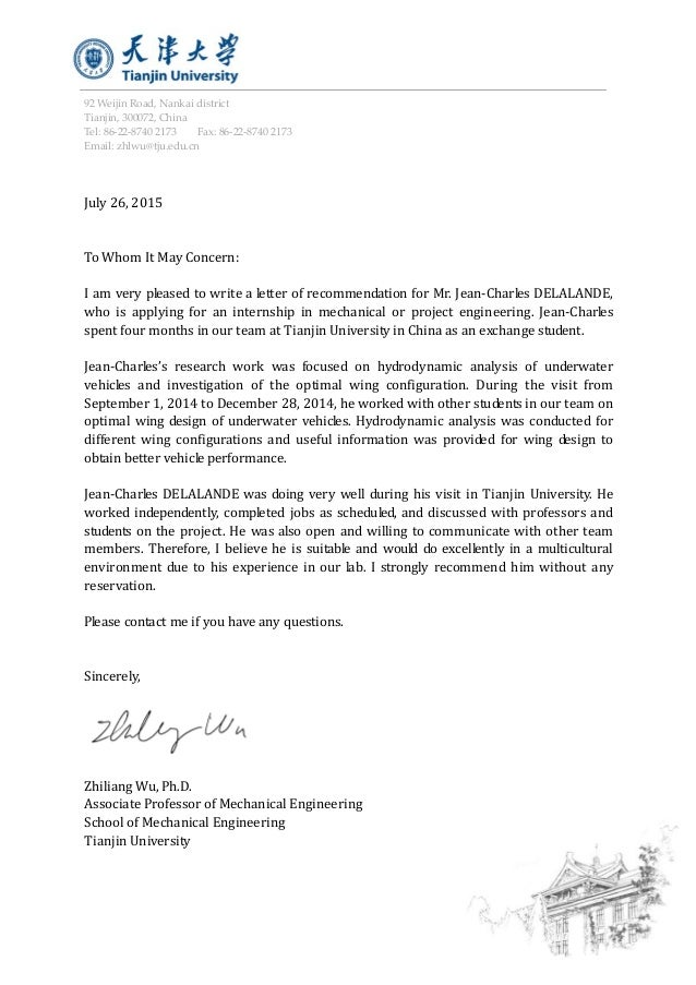 recommendation letter from zhiliang wu