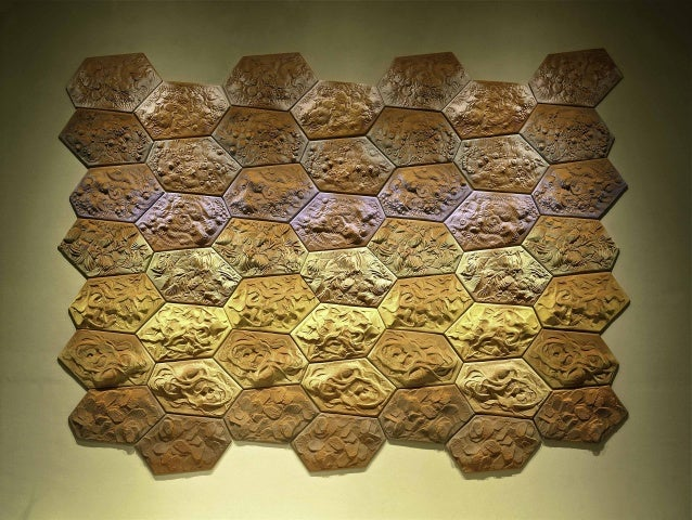 Chakra Dance, 2001, stoneware relief tile with terra-sigillata, 108- x 156- x 3- Renwick Gallery, SAAM