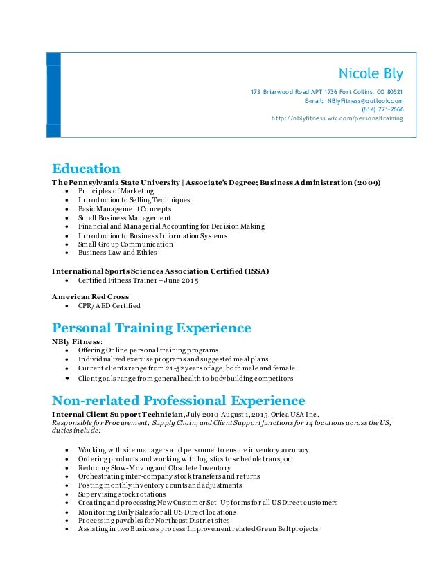 Nicole Bly Personal Training Resume