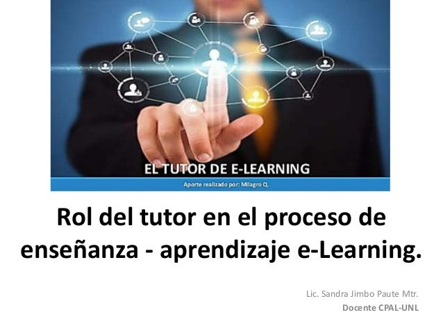 Rol del tutor en el proceso de enseñanza - aprendizaje e-Learning. Lic. Sandra Jimbo Paute Mtr. Docente CPAL-UNL