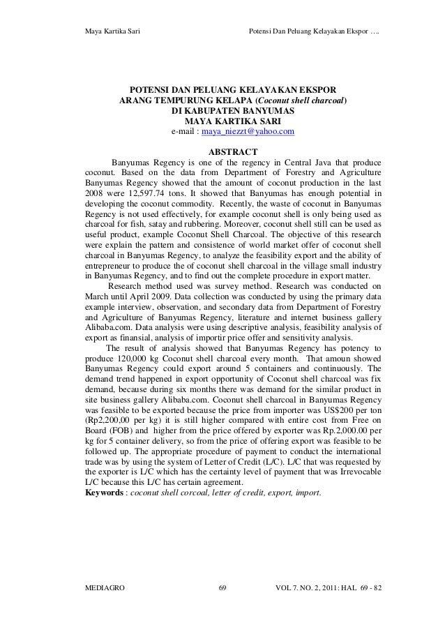 Maya Kartika Sari Potensi Dan Peluang Kelayakan Ekspor …. MEDIAGRO 69 VOL 7. NO. 2, 2011: HAL 69 - 82 POTENSI DAN PELUANG ...