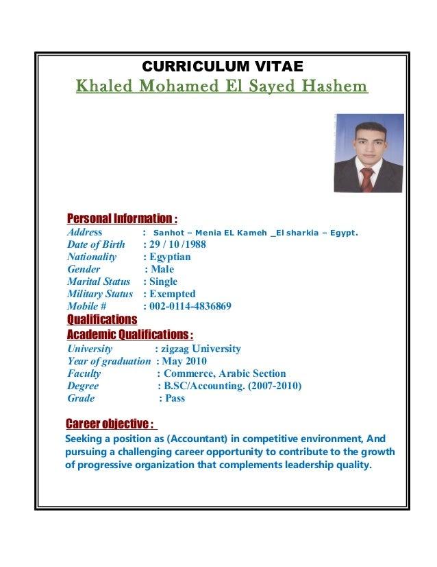 CURRICULUM VITAE Khaled Mohamed El Sayed Hashem Personal Information : Address : Sanhot – Menia EL Kameh _El sharkia – Egy...