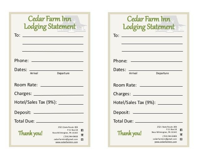 deposit form hotel  Lodging Form