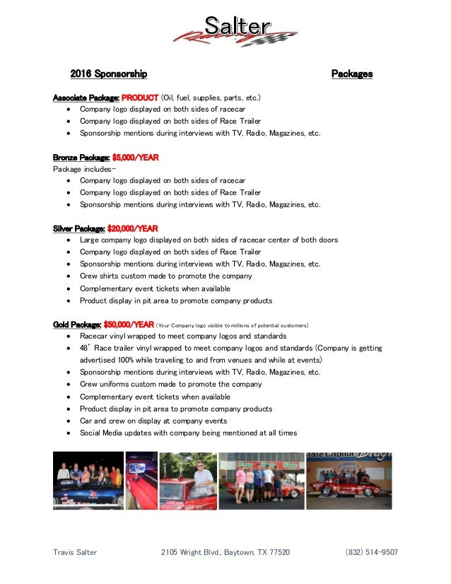 salter racing 2016 resume sponsorship package