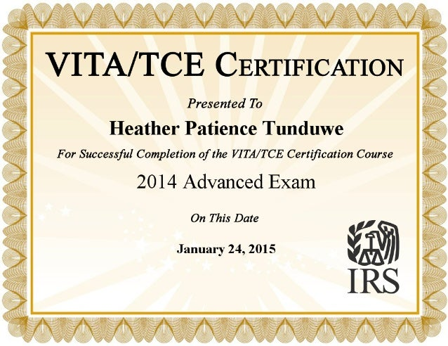 irs vita advanced course income tax preparation certificate