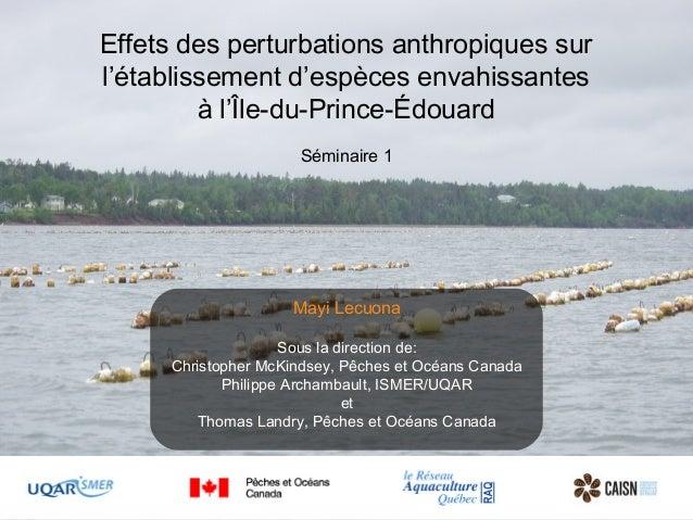 Effets des perturbations anthropiques sur l'établissement d'espèces envahissantes à l'Île-du-Prince-Édouard Séminaire 1 Ma...