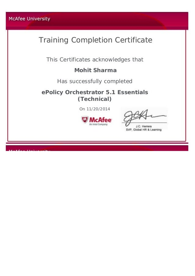 Training Completion Certificate   This Certificates acknowledges that Mohit Sharma Has successfully completed eP...