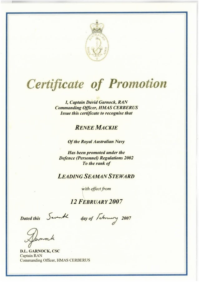 certificate of promotion to leading hand