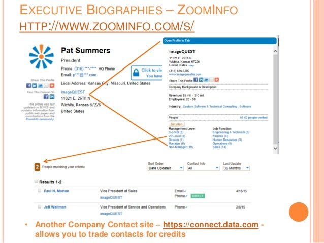 EXECUTIVE BIOGRAPHIES – ZOOMINFO HTTP://WWW.ZOOMINFO.COM/S/ • Another Company Contact site – https://connect.data.com - al...