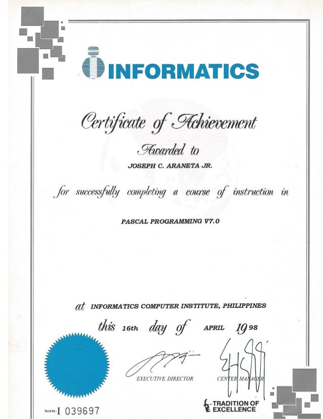 Informatics Certificate of Acheivement for Pascal Programming