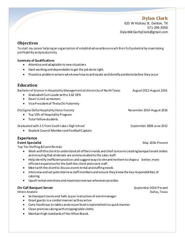 Sales U0026 Catering Coordinator Resume. Dylan Clark 625 W Hickory St. Denton,  TX 571 294 3050 DylanMcGarityClark ...  Sales Coordinator Resume