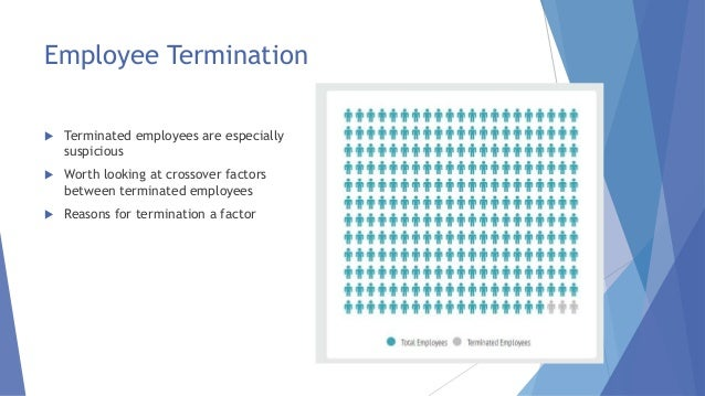 Employee Termination  Terminated employees are especially suspicious  Worth looking at crossover factors between termina...