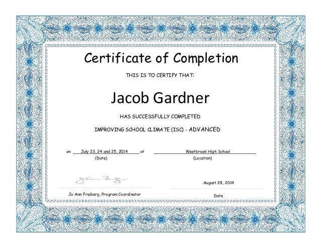 Jacob Gardner Isc Certificates
