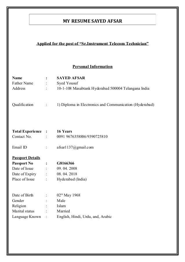 telecom technician resume
