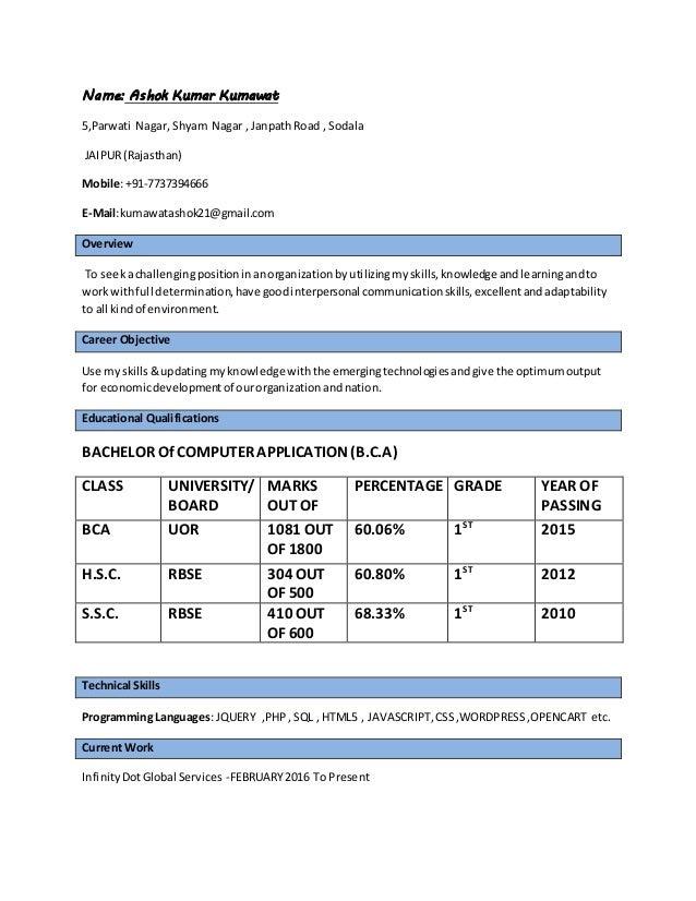 Name: Ashok Kumar Kumawat 5,Parwati Nagar, Shyam Nagar , JanpathRoad , Sodala JAIPUR(Rajasthan) Mobile:+91-7737394666 E-Ma...